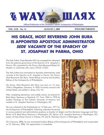 his grace, most reverend john bura is appointed apostolic