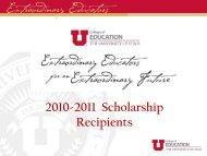 2010-2011 Scholarship Recipients - College of Education