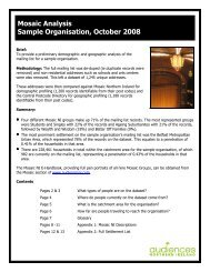 Mosaic Analysis Sample Organisation, October 2008 - Audiences NI