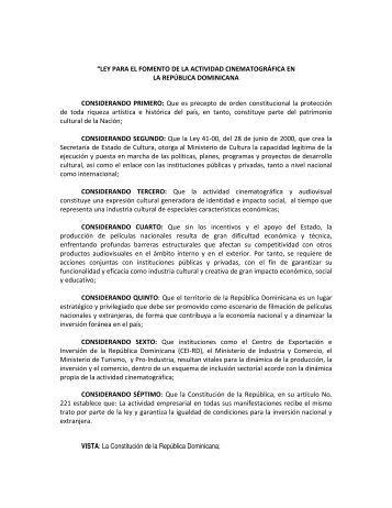 """""""LEY PARA EL FOMENTO DE LA ACTIVIDAD CINEMATOGRÁFICA ..."""