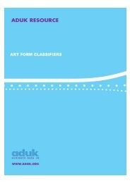 art form classifiers - Audiences NI