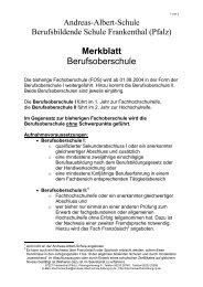 Merkblatt Berufsoberschule - Andreas-Albert-Schule