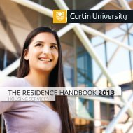 THE RESIDENCE HANDBOOK 2013 - Unilife - Curtin University