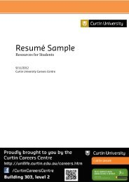 Resumé Sample - Unilife - Curtin University