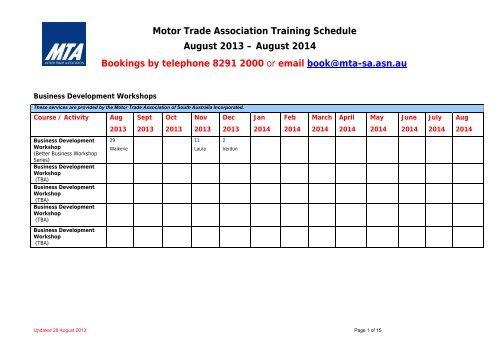 Motor Trade Association Training Schedule August 2013 - MTA