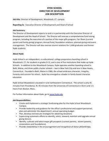 Amazing Hyde School Director Of Development Job Description   Hyde Schools