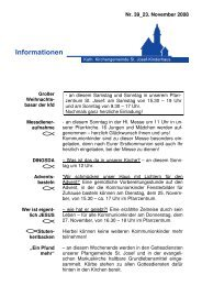 Info-Blatt 39, 23 November 2008 - St. Josef-Kinderhaus
