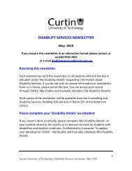 Disability Services Newsletter May 2010 - Unilife - Curtin University