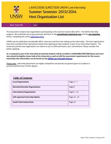 This document contains host organisations ... - UNSW Law
