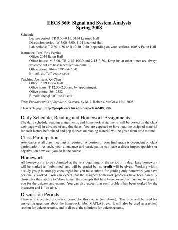 EECS 360, Spring 2008 Syllabus