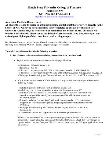 Portfolio Requirements Spring and Fall 2014[1] - College of Fine Arts
