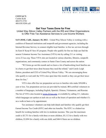 View Press Release (PDF) - United Way Silicon Valley
