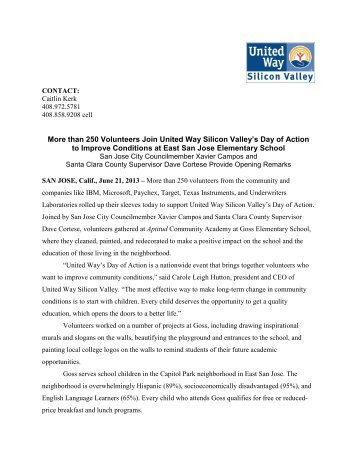 Day of Action 2013 Press Release (PDF) - United Way Silicon Valley