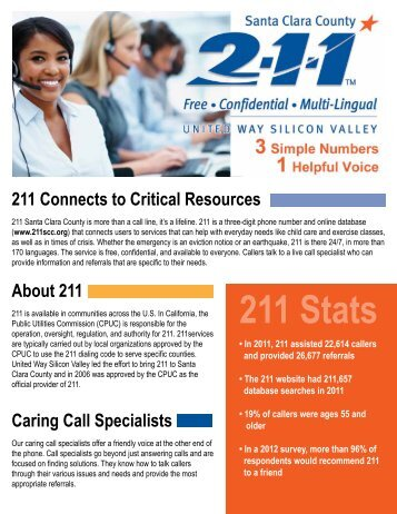 211 Stats - United Way Silicon Valley