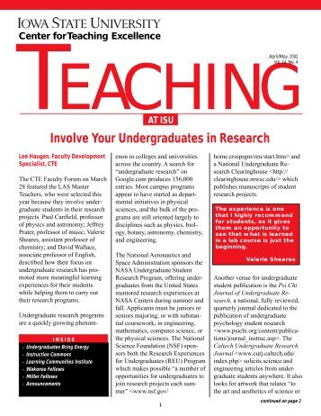 Apr/May (Vol 14, No 4) - Center for Excellence in Learning and ...