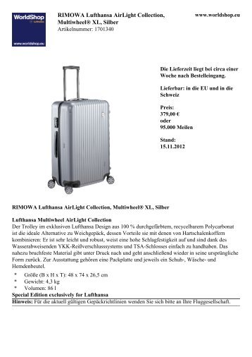 RIMOWA Lufthansa AirLight Collection, Multiwheel® XL,  Silber