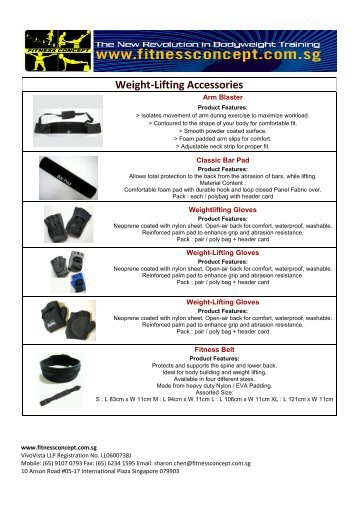 Weight-Lifting Accessories Catalog - Fitnessconcept.com.sg