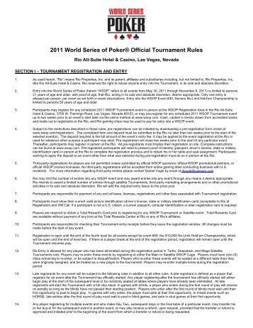 world series of poker rules