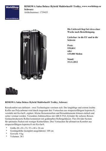 RIMOWA Salsa Deluxe Hybrid Multiwheel® Trolley,  Schwarz