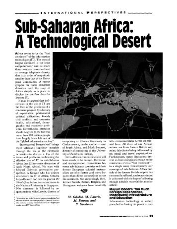 Sub-Saharan. Africa: A Technological Desert - Department of ...