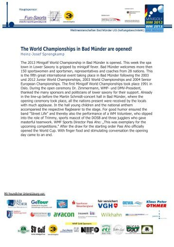 The World Championships in Bad Münder are opened!