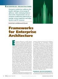 Frameworks for Enterprise Architecture - Department of Computer ...