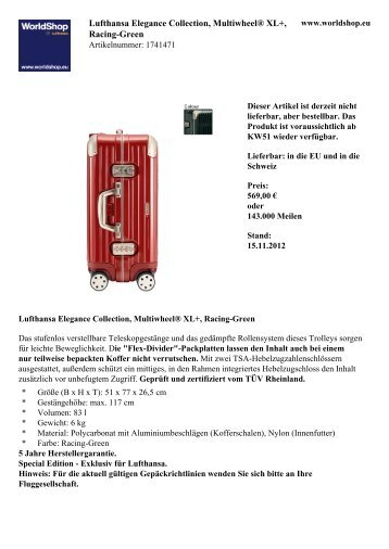 Lufthansa Elegance Collection, Multiwheel ... - Lufthansa WorldShop