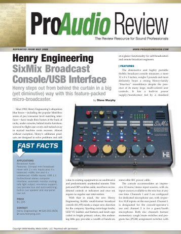 Henry Engineering SixMix Broadcast Console/USB Interface