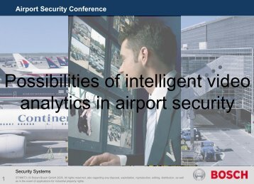 Possibilities of intelligent video analytics in airport security