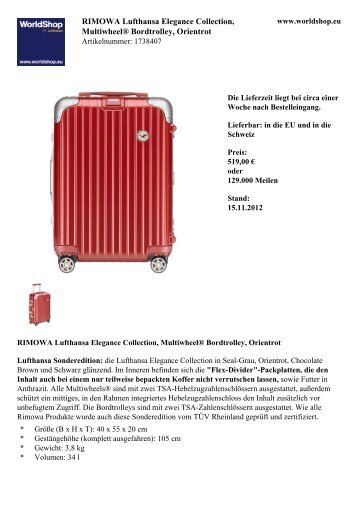 RIMOWA Lufthansa Elegance Collection ... - Lufthansa WorldShop