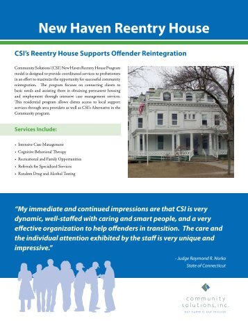 New Haven Reentry House - Community Solutions Inc.
