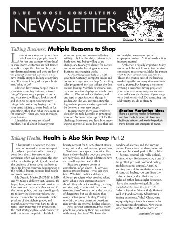 BMC Newsletter, Vol. 2, Issue 6 - June 2004 - Blue Moose Consulting