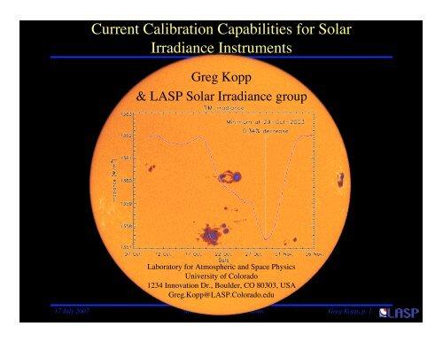 Solar Irradiance Calibrations - Nasa