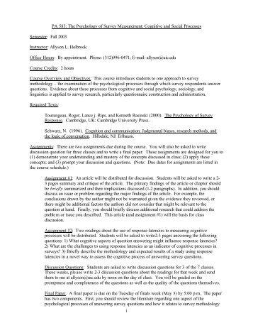 Cognitive Processes Syllabus - Survey Research Laboratory