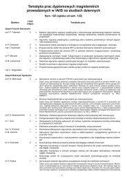 Tematyka prac dyplomowych magisterskich prowadzonych w IAiIS ...
