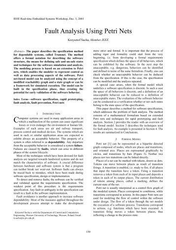 Fault Analysis Using Petri Nets (pdf 45kB)