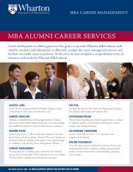 mba alumni career services - Wharton MBA Career Management