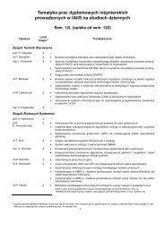 Tematyka prac dyplomowych inżynierskich prowadzonych w IAiIS ...