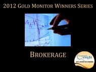 Gold Monitor Award Winners Series: Brokerage ... - Corporate Insight