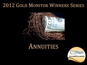 Gold Monitor Award Winners Series: Annuities ... - Corporate Insight