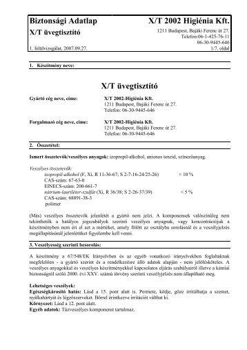 Biztonsági Adatlap X/T 2002 Higiénia Kft. X/T üvegtisztító - horkoll.hu