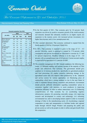 Thai Economic Performance in Q1 and Outlook for 2011 - nesdb