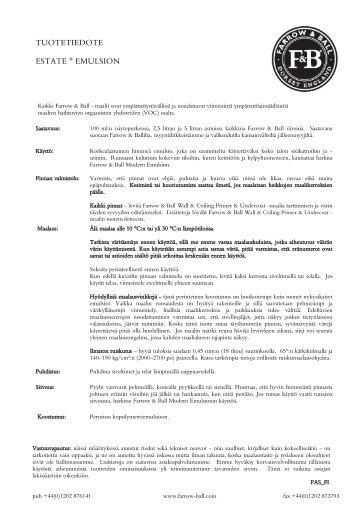 TUOTETIEDOTE ESTATE ® EMULSION - Farrow & Ball