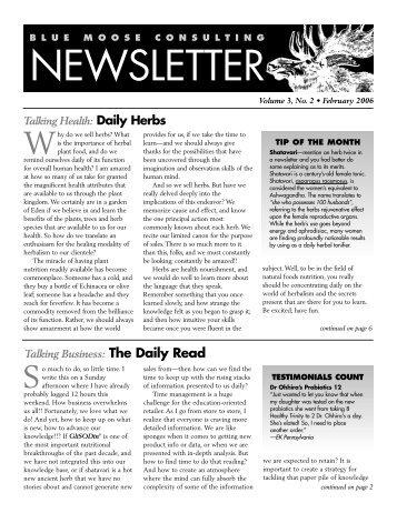 BMC Newsletter, Vol. 3, Issue 2 - February 2006 - Blue Moose ...