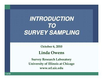 introduction to survey sampling - Survey Research Laboratory