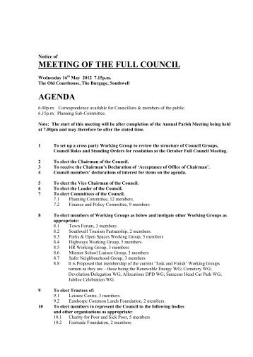 MEETING OF THE FULL COUNCIL AGENDA - Southwell Town ...