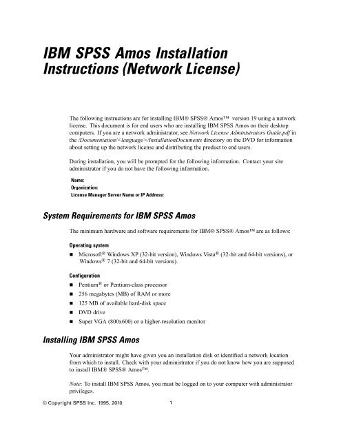 IBM SPSS Amos Installation Instructions (Network License)