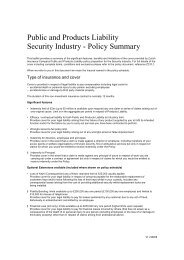 Public and Products Liability Security Industry - Policy Summary