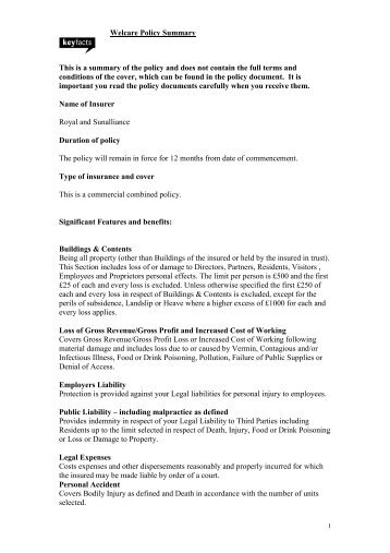 Welcare Policy Summary This is a summary of the policy and does ...