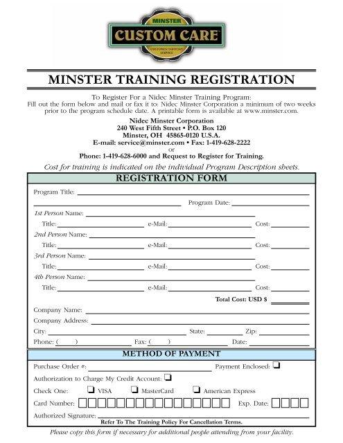 To Download Registration Form Pdf Format Minster Machine